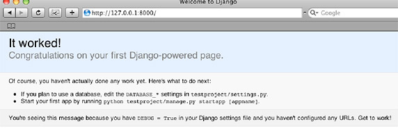 django install welcome